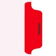 S-9210-6T-4 - Individual Stock Chart Divider Tabs, Hospital, Red, Side Tab, 1/6th Cut, Pos. #4 (Pack of 25)