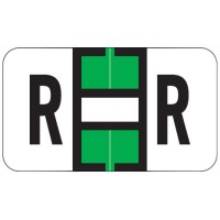 "Jeter 7200 Compatible Alpha Labels, Letter ""R"",  Laminated Stock, 15/16&#34 X 1-5/8&#34 Indi..."