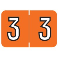 "Barkley NBKM Compatible Numeric Labels, Number ""3"", Laminated Stock, 1"" X 1-1/2"" Indiv..."