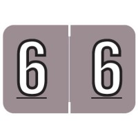 "Barkley NBKM Compatible Numeric Labels, Number ""6"", Laminated Stock, 1"" X 1-1/2"" Indiv..."