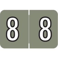 "Barkley NBKM Compatible Numeric Labels, Number ""8"", Laminated Stock, 1"" X 1-1/2"" Indiv..."