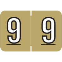 "Barkley NBKM Compatible Numeric Labels, Number ""9"", Laminated Stock, 1"" X 1-1/2"" Indiv..."