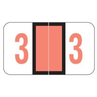 "POS 3500 Compatible Numeric Labels, Number ""3"", Laminated Stock, 15/16"" X 1-5/8"" Indiv..."