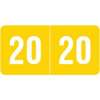 "Yellow 2020 Year Labels, Smead Compatible, 1/2"" High x 1"" Wide"