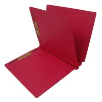 14 Pt. Red Classification Folders, Full Cut End Tab, Letter Size, 1 Divider (Box of 25)