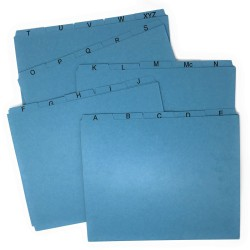 Ecom Folders Pressboard File Guides, A-Z, 1/5 Cut, Top Tab, Letter Size, Blue (Set of 25 Tabs)
