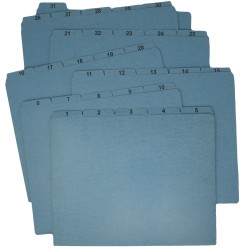 Ecom Folders Pressboard File Guides, 1-31, 1/5 Cut, Top Tab, Letter Size, Blue (Set of 31 Tabs)
