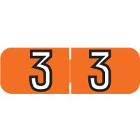 "Barkley NBAM Compatible Mini Numeric Labels, Number ""3"", Laminated Stock, 1/2"" X 1-1/2..."