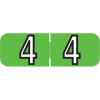 "Barkley NBAM Compatible Mini Numeric Labels, Number ""4"", Laminated Stock, 1/2"" X 1-1/2..."