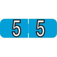 "Barkley NBAM Compatible Mini Numeric Labels, Number ""5"", Laminated Stock, 1/2"" X 1-1/2..."