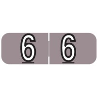 "Barkley NBAM Compatible Mini Numeric Labels, Number ""6"", Laminated Stock, 1/2"" X 1-1/2..."