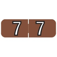"Barkley NBAM Compatible Mini Numeric Labels, Number ""7"", Laminated Stock, 1/2"" X 1-1/2..."