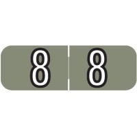"Barkley NBAM Compatible Mini Numeric Labels, Number ""8"", Laminated Stock, 1/2"" X 1-1/2..."