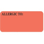 S-UL808 - Allergy Warning Labels, ALLERGIC TO: - Fl Red, 2-1/4