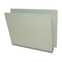 "End Tab Pressboard Folders, Letter Size, 2"" exp, Fasteners Pos #1 & #3, Gray Green (Box of 25)"