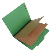S60401 - Green Pressboard Top Tab Classification Folder, Letter Size