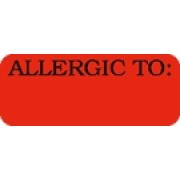 S-SS16 - Allergy Warning Labels, ALLERGIC TO: - Fl Red, 1-7/8