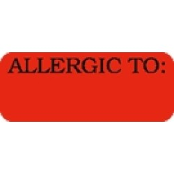 "Allergy Warning Labels, ALLERGIC TO: - Fl Red, 1-7/8"" X 3/4"" (Roll of 500)"
