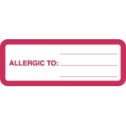"S-8001 - Allergy Warning Labels, ALLERGIC TO: - Red/White, 3"" X 1-1/8"" (Roll of 320)"