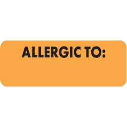 "Allergy Warning Labels, ALLERGIC TO - Fl Orange, 2 1/2"" X 3/4"" (Roll of 300)"