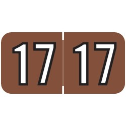 "2017 Year Labels, Brown, Barkley Compatible, 3/4"" X 1-1/2"" - Roll of 500"